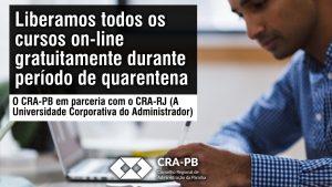 O CRA-PB em parceria com o CRA-RJ está liberando seus mais de 250 cursos on-line