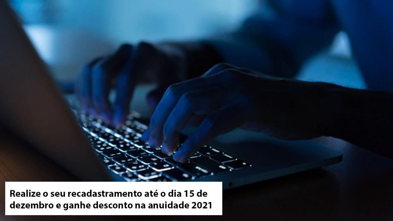 Atualize seus dados até 15 de dezembro e garanta 15% de desconto na anuidade 2021